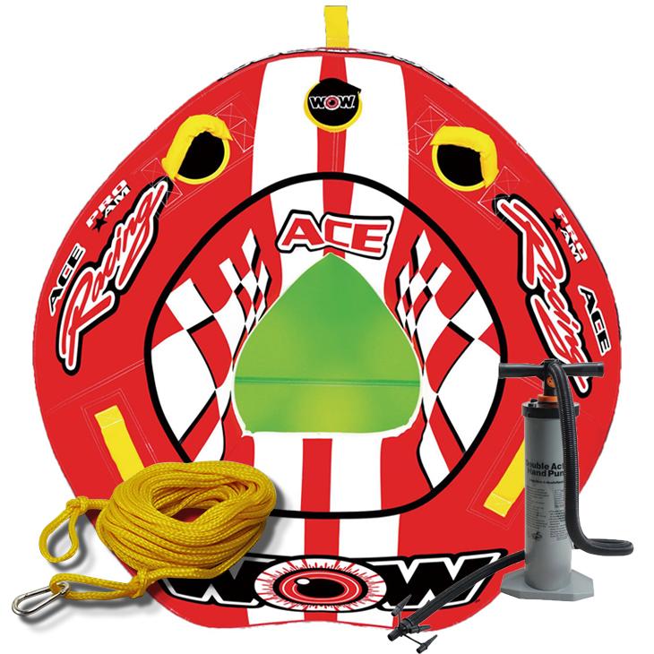 バナナボート トーイングチューブ 1人乗り マリンスポーツ WOW (ワオ) エースレーシング 3点セット ロープ+ハンドポンプ付 1人乗り 【ss0604】