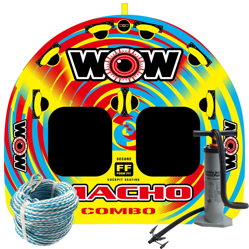 バナナボート トーイングチューブ マリンスポーツ WOW (ワオ) マッチョ 2P 3点セット ロープ+ハンドポンプ付 2人乗り 【ss0604】