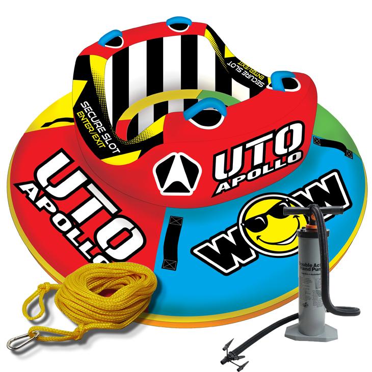 2人乗り トーイングチューブ バナナボートWOW (ワオ) UTO アポロ 3点セット ロープ+ハンドポンプ付 2人乗り