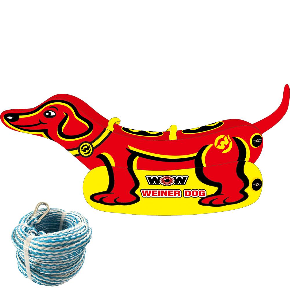 バナナボート トーイングチューブ 2人乗り マリンスポーツ WOW (ワオ) ウインナードッグ 2点セット ロープ付き
