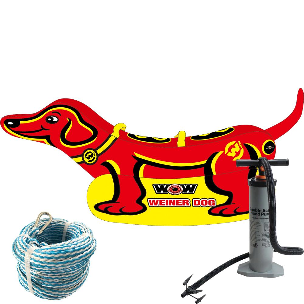 バナナボート トーイングチューブ 2人乗り マリンスポーツ WOW (ワオ) ウインナードッグ 3点セット ロープ+ハンドポンプ付き