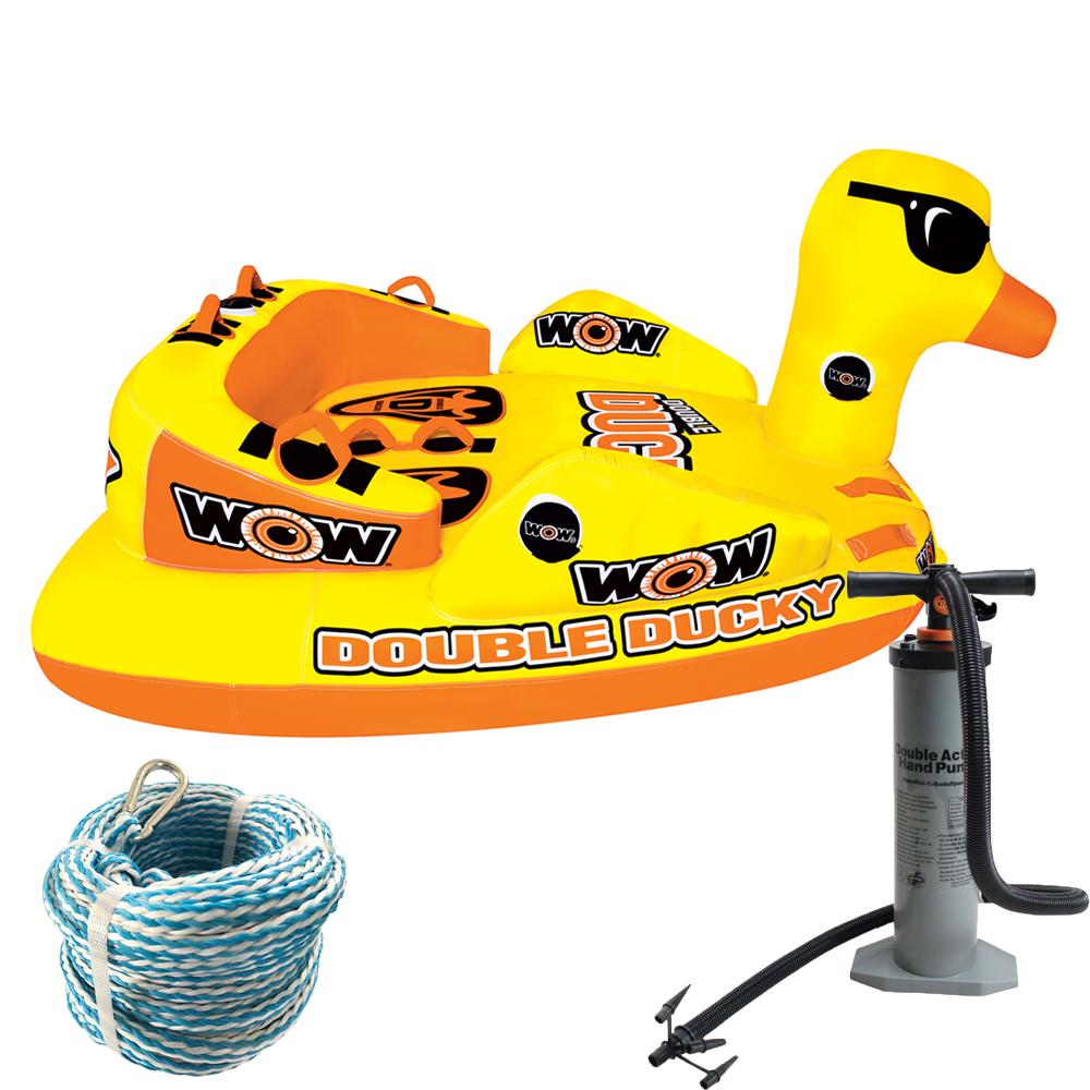 トーイングチューブ バナナボート WOW (ワオ) ダブルダッキー 3点セット ロープ+ハンドポンプ付 2人乗り