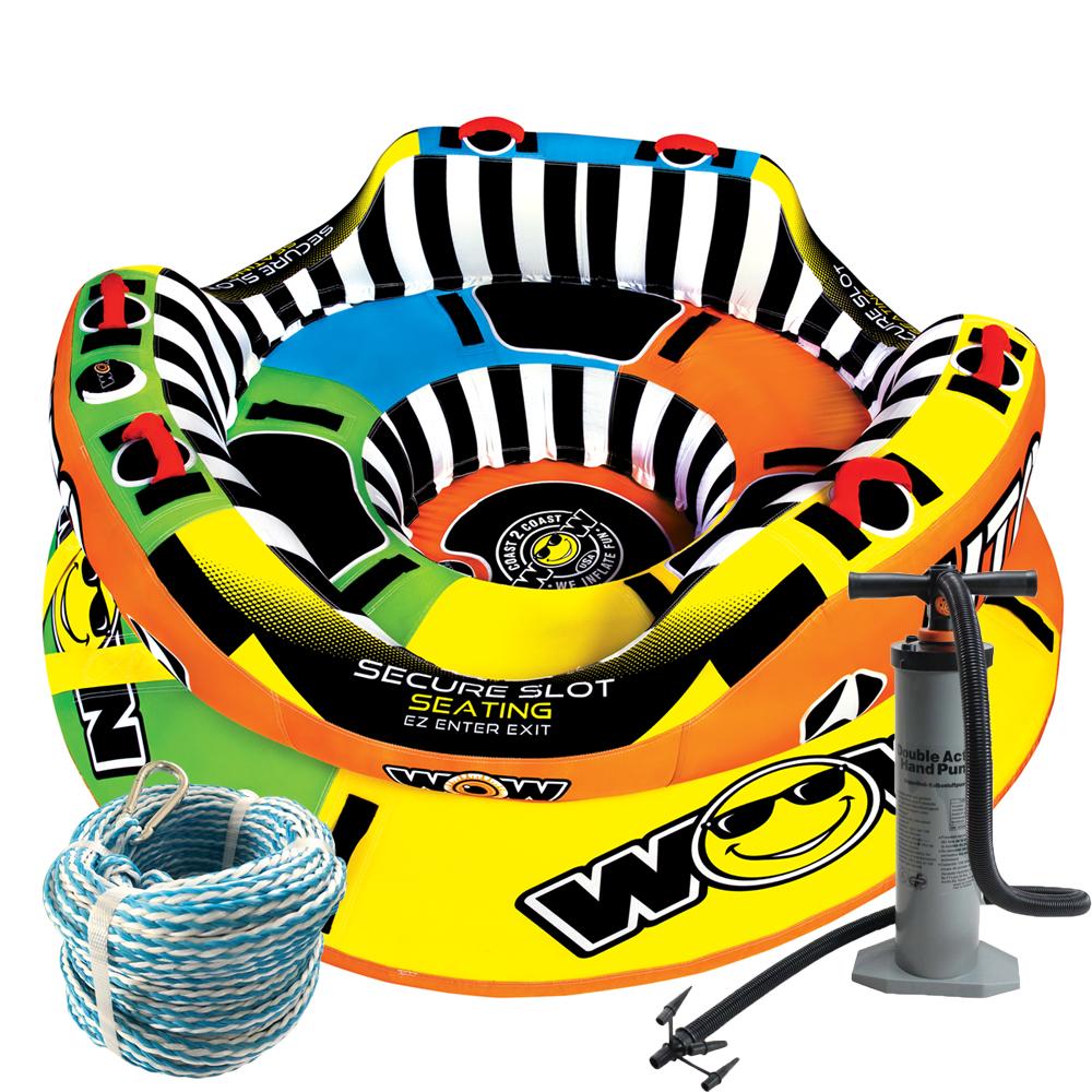 バナナボート トーイングチューブ マリンスポーツ WOW (ワオ) UTO エクスカリバー 3点セット ロープ+ハンドポンプ付き 3人乗り