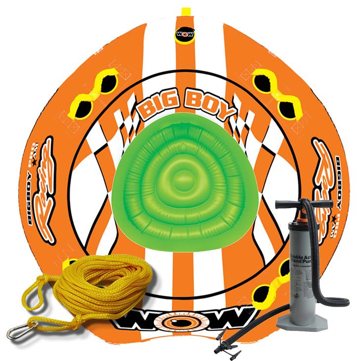 トーイングチューブ バナナボート マリンスポーツ WOW (ワオ) ビッグボーイ レーシング 3点セット ロープ+ハンドポンプ付 4人乗り