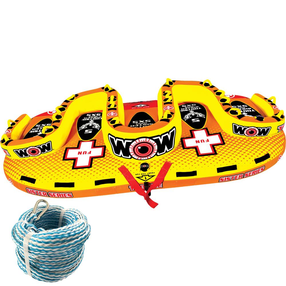 バナナボート トーイングチューブ WOW (ワオ) トッツィー 2点セット ロープ付き 5人乗り