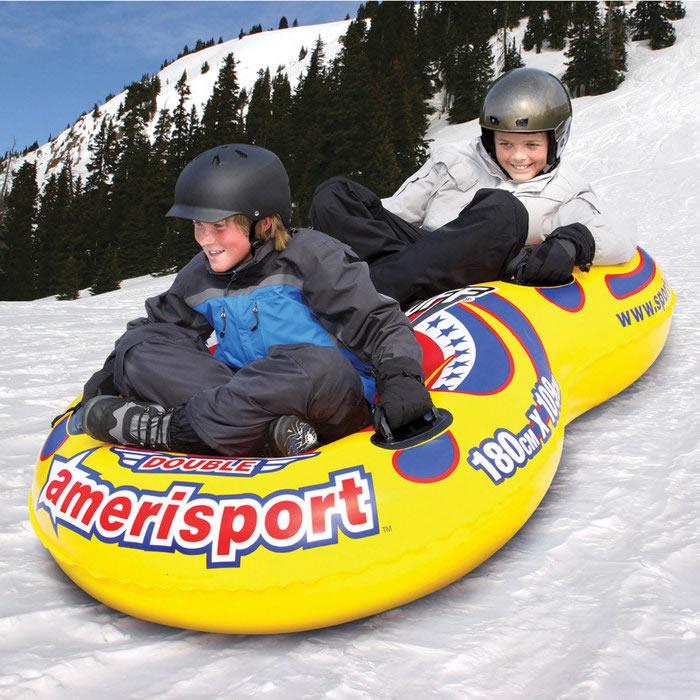 雪遊び そり 雪ゾリ スノーチューブSPORTSSTUFF ダブルアメリスポーツ スノーチューブ 2人乗り
