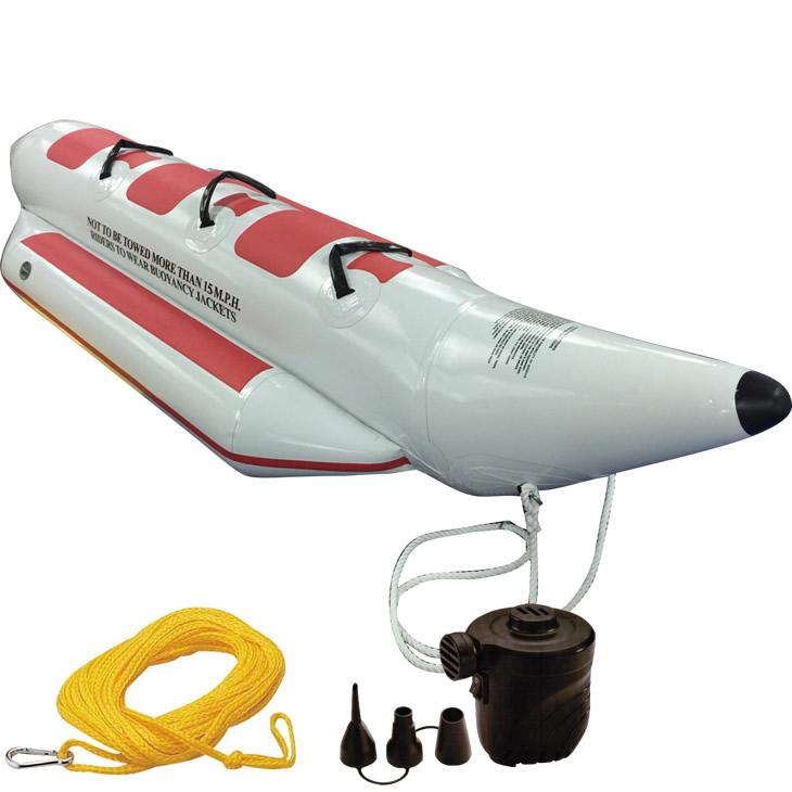 バナナボート 3人乗り セット トーイングロープ 空気入れ TWELVE (トゥエルブ) バナナボート シングル 3点セット