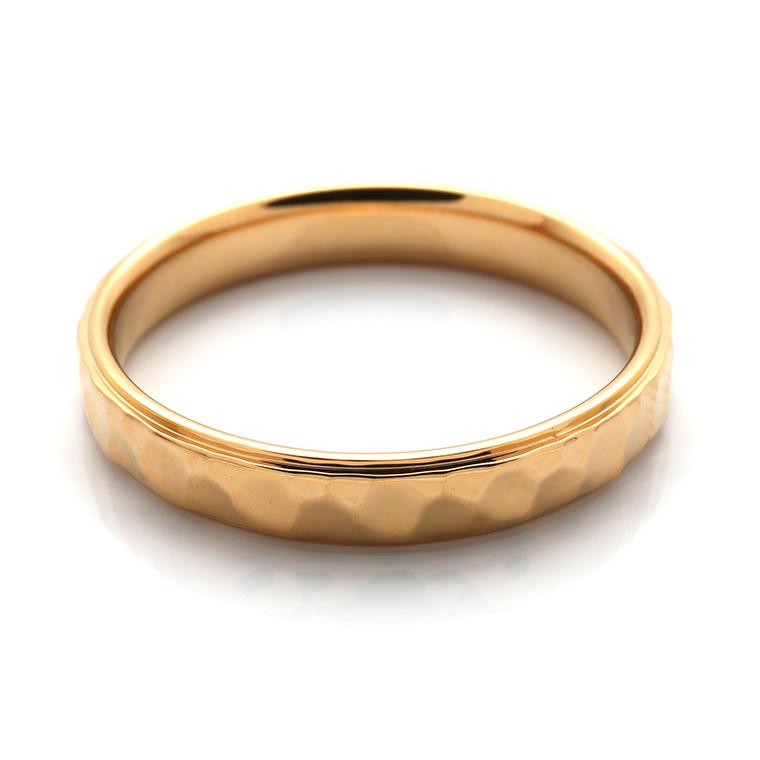 【マリッジリング(結婚指輪):メンズ】18Kイエローゴールドリング※槌目加工 KSIMA-007M ※4週間前後でお届け