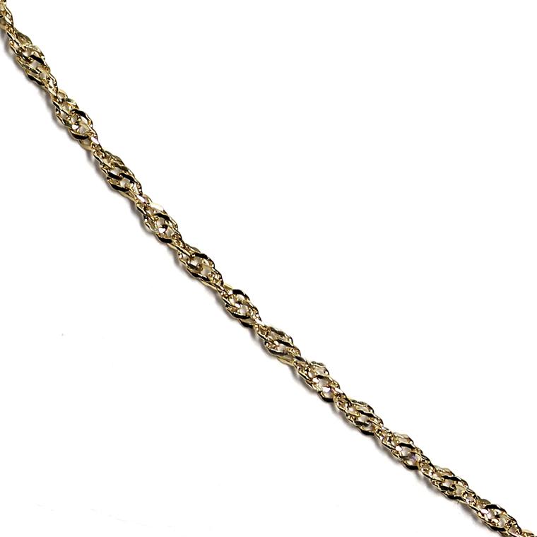 10K イエローゴールドスクリューネックレス (45cm) ダブルスクリュー0.17