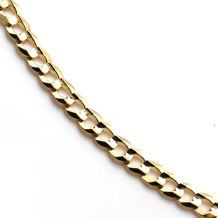 10K イエローゴールドチョーカーネックレス (35cm) Cuban-060