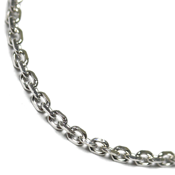 10K ホワイトゴールドネックレス (50cm) アズキ0.4
