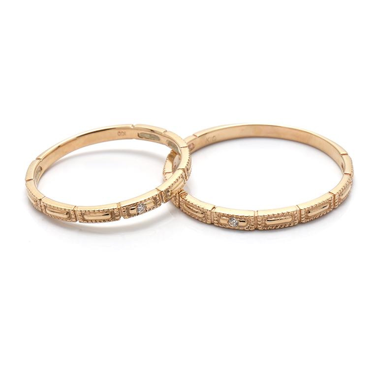 【BRIDAL D】 ※4週間前後でお届けダイヤモンド18K イエロー・ローズゴールドリング 0.006ct -メンズデザイン-
