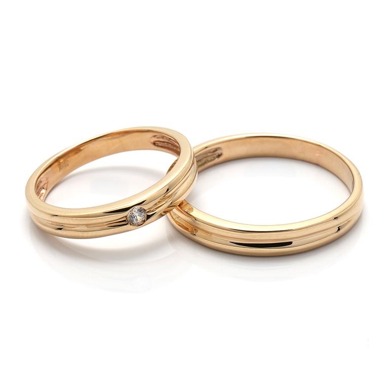 【BRIDAL H】 ※4週間前後でお届けダイヤモンド10K イエロー・ローズ・ホワイトゴールドリング0.03ct -レディースデザイン-