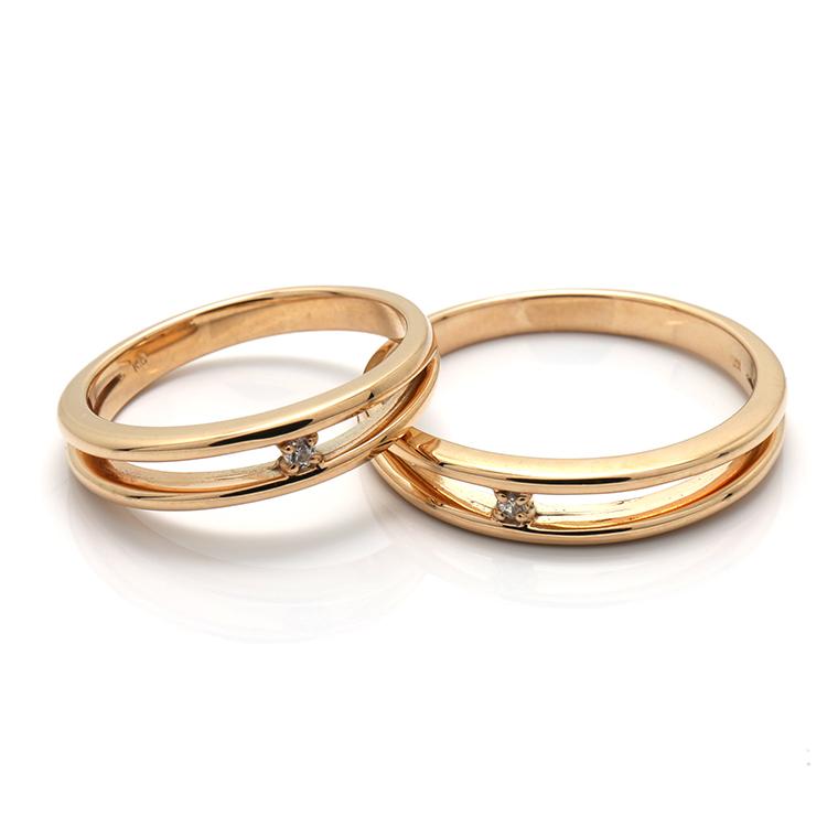 【BRIDAL I】 ※4週間前後でお届けダイヤモンド 10K イエロー・ローズ・ホワイトゴールドリング 0.01ct
