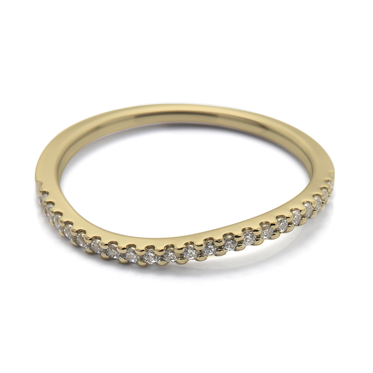 【マリッジリング(結婚指輪):レディース】【ウェーブハーフエタニティ】18Kイエローゴールドダイヤモンドリング(0.105ct) KSIMA-003H ※4週間前後でお届け