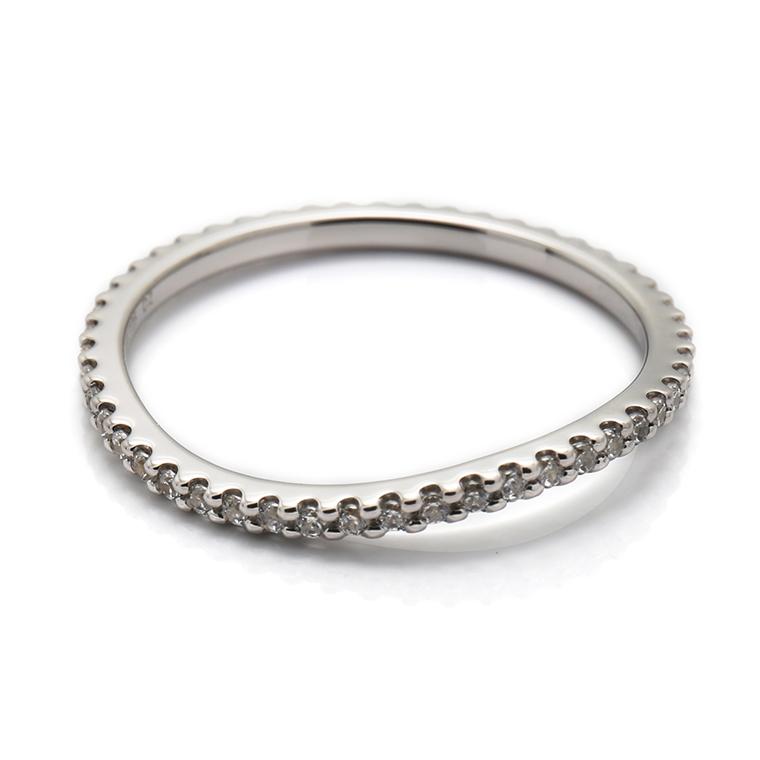 【マリッジリング(結婚指輪):レディース】【ウェーブフルエタニティ】プラチナダイヤモンドリング(0.22~0.26ct) KSIMA-003F ※4週間前後でお届け