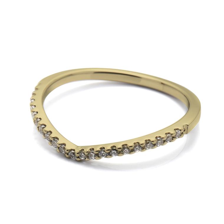【マリッジリング(結婚指輪):レディース】【Vラインハーフエタニティ】18Kイエローゴールドダイヤモンドリング(0.105ct) KSIMA-002H ※4週間前後でお届け