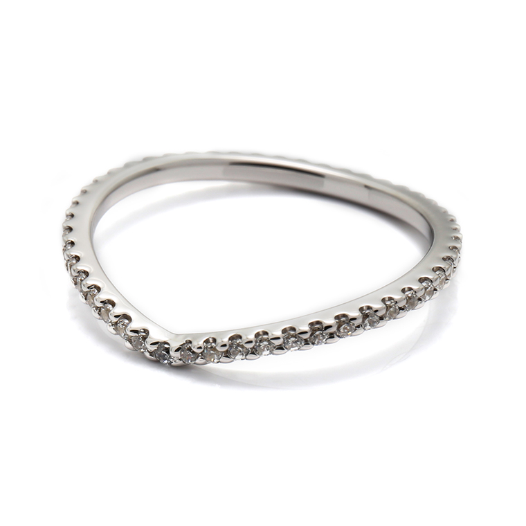【マリッジリング(結婚指輪):レディース】【Vラインフルエタニティ】プラチナダイヤモンドリング(0.22~0.26ct) KSIMA-002F ※4週間前後でお届け