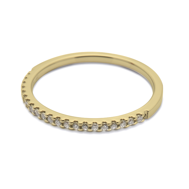【マリッジリング(結婚指輪):レディース】【ストレートハーフエタニティ】18Kイエローゴールドダイヤモンドリング(0.105ct) KSIMA-001H ※4週間前後でお届け