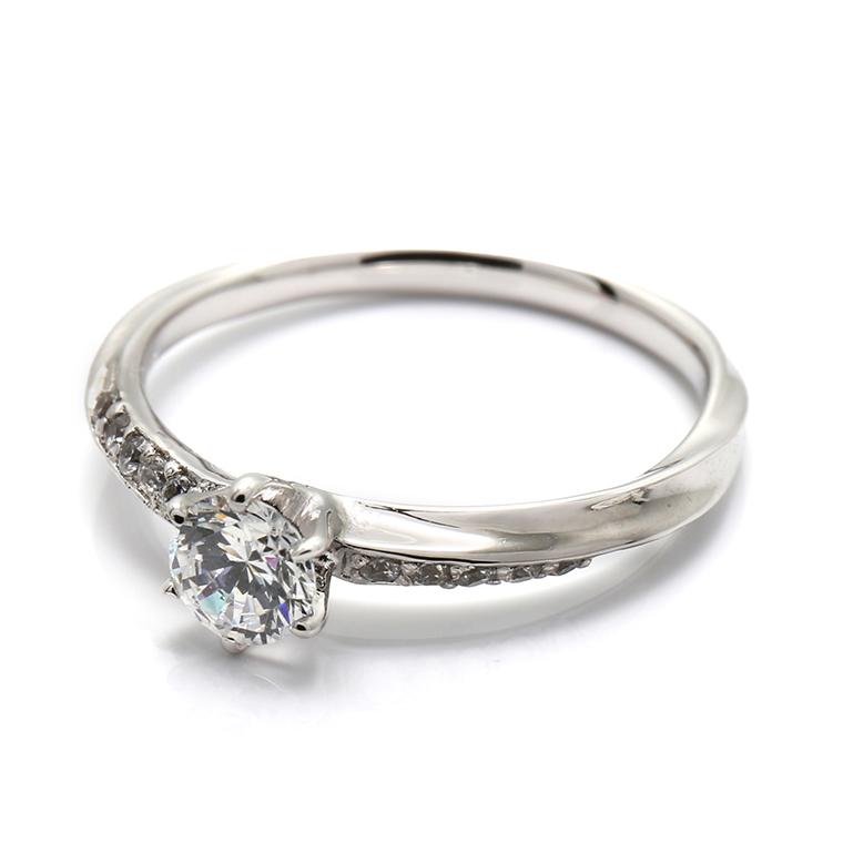 【エンゲージリング(婚約指輪)】18Kホワイトゴールドダイヤモンドリング(0.366ct) ISIEG-007 ※4週間前後でお届け