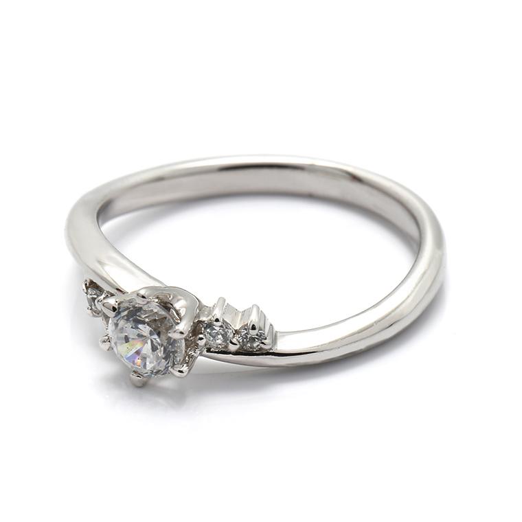 【エンゲージリング(婚約指輪)】18Kホワイトゴールドダイヤモンドリング(0.348ct) ISIEG-005 ※4週間前後でお届け