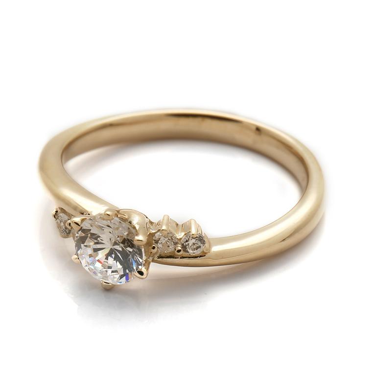 【エンゲージリング(婚約指輪)】18Kイエロー・ローズゴールドダイヤモンドリング(0.348ct) ISIEG-005 ※4週間前後でお届け