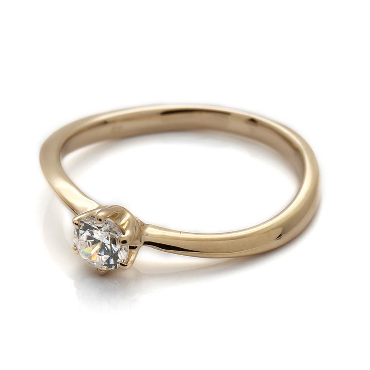 【エンゲージリング(婚約指輪)】18Kイエロー・ローズゴールドダイヤモンドリング(0.20ct) ISIEG-004 ※4週間前後でお届け