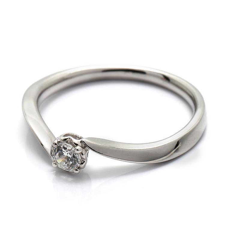【エンゲージリング(婚約指輪)】18Kホワイトゴールドダイヤモンドリング(0.10ct) ISIEG-003 ※4週間前後でお届け