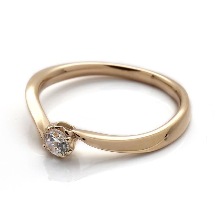 【エンゲージリング(婚約指輪)】18Kイエロー・ローズゴールドダイヤモンドリング(0.10ct) ISIEG-003 ※4週間前後でお届け