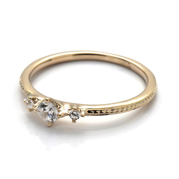 【エンゲージリング(婚約指輪)】18Kイエロー・ローズゴールドダイヤモンドリング(0.128ct) ISIEG-002 ※4週間前後でお届け