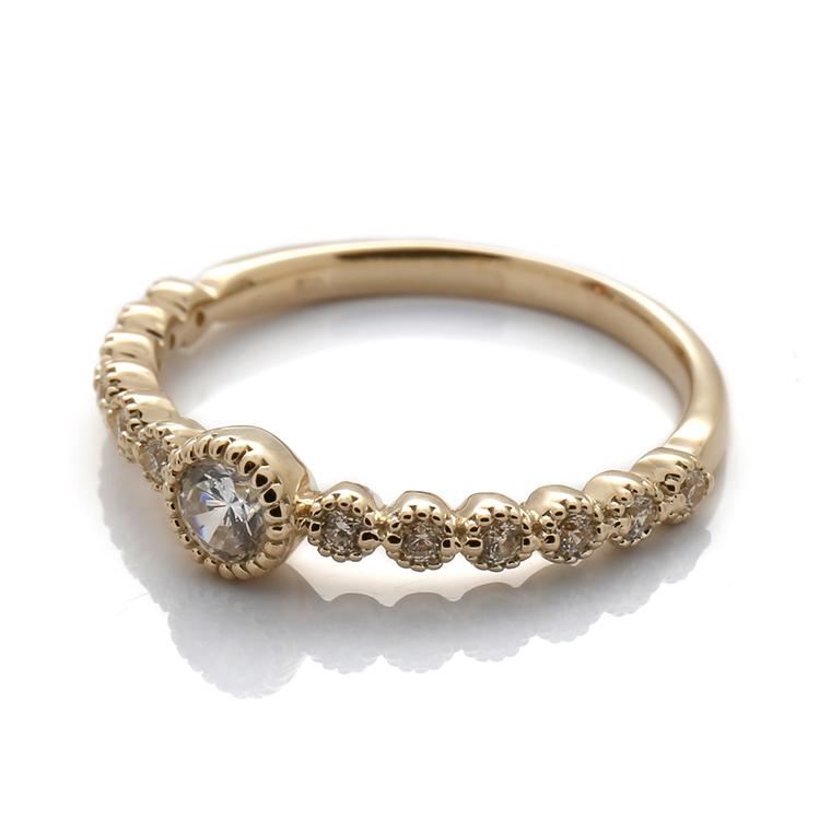 【エンゲージリング(婚約指輪)】18Kイエロー・ローズゴールドダイヤモンドリング(0.27ct) ISIEG-001 ※4週間前後でお届け