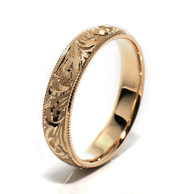 【マリッジリング(結婚指輪):ハワイアン】【甲丸タイプ:大波-メンズ-】10Kイエロー・ローズ・ホワイトゴールドリングISIHW-E ※4週間前後でお届け