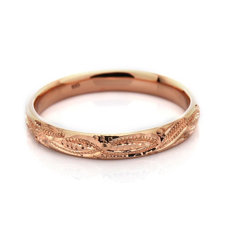 【マリッジリング(結婚指輪):ハワイアン】【甲丸タイプ:マーリエ-レディース-】18Kイエロー・ローズ・ホワイトゴールドリングISIHW-D ※4週間前後でお届け