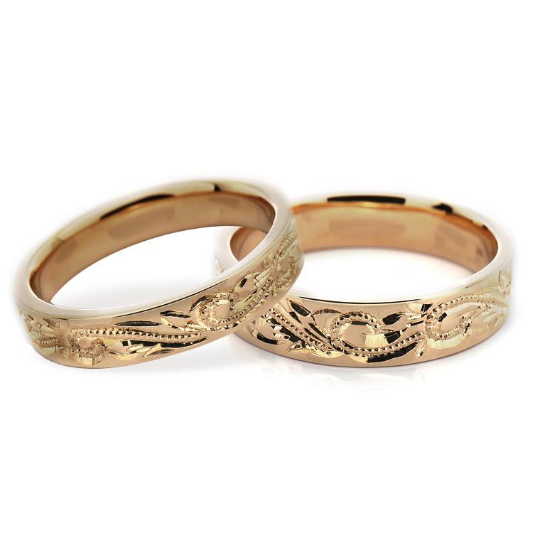 【マリッジリング(結婚指輪):ハワイアン】【平打タイプ:花なしモアニ-レディース-】24KイエローゴールドリングISIHW-C ※4週間前後でお届け