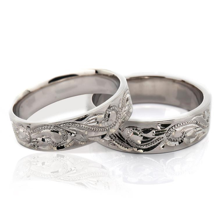 【マリッジリング(結婚指輪):ハワイアン】【平打タイプ:花なしモアニ-レディース-】プラチナ900リングISIHW-C ※4週間前後でお届け