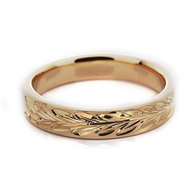 【マリッジリング(結婚指輪):ハワイアン】【平打タイプ:マイレレイ-レディース-】18Kイエロー・ローズ・ホワイトゴールドリングISIHW-B ※4週間前後でお届け