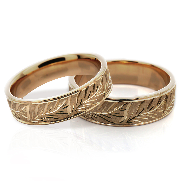 【マリッジリング(結婚指輪):ハワイアン】【平打タイプ:モンステラ-メンズ-】10Kイエロー・ローズ・ホワイトゴールドリングISIHW-A ※4週間前後でお届け