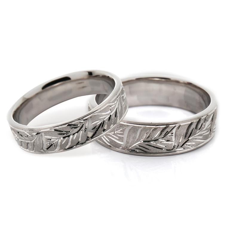 【マリッジリング(結婚指輪):ハワイアン】【平打タイプ:モンステラ-レディース-】プラチナ999リングISIHW-A ※4週間前後でお届け