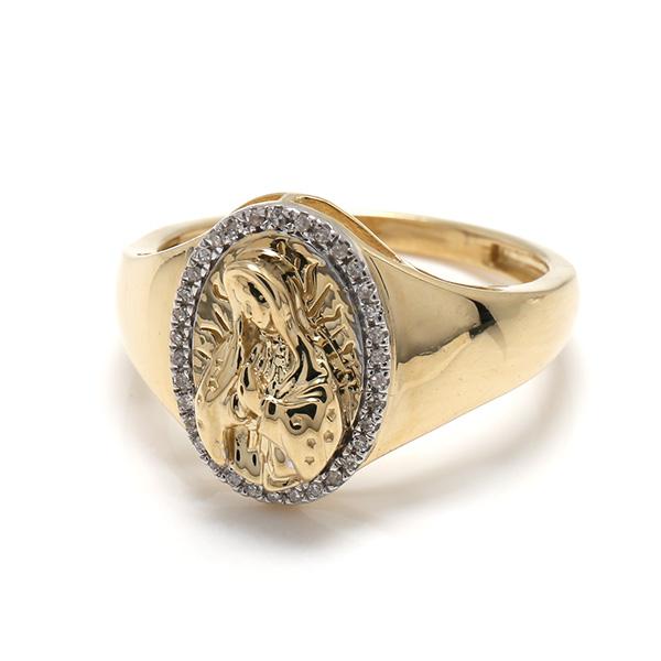 ダイヤモンド 10K イエローゴールドリング0.09ct SIZE: 22号 SR03004