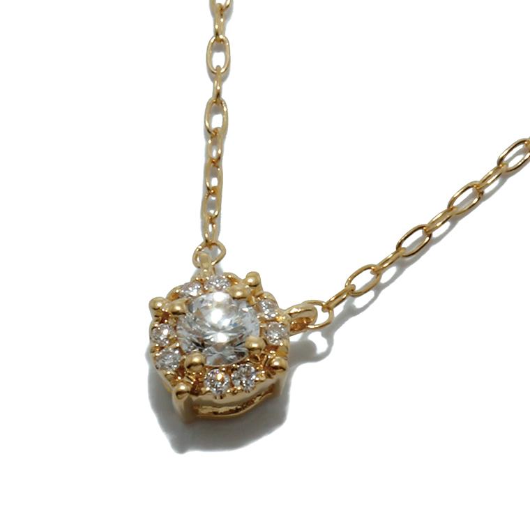 ダイヤモンド 18K イエローゴールドペンダントヘッド&ネックレス(40cm)0.10ctLAJ18 PD61892 SJ19