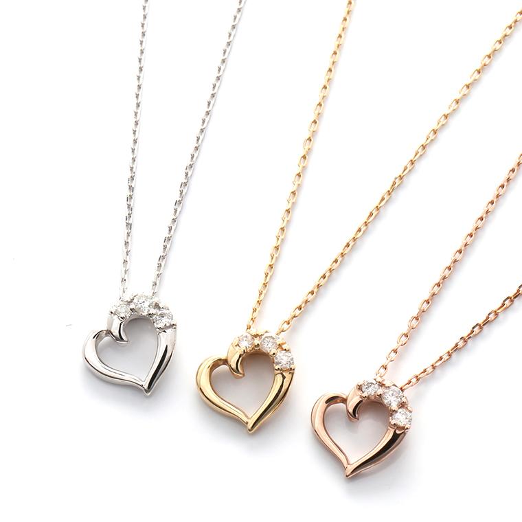 ダイヤモンド 10K イエロー/ローズ/ホワイトゴールドペンダントヘッド&ネックレス(40cm)0.03ctTDA8835 XJ19