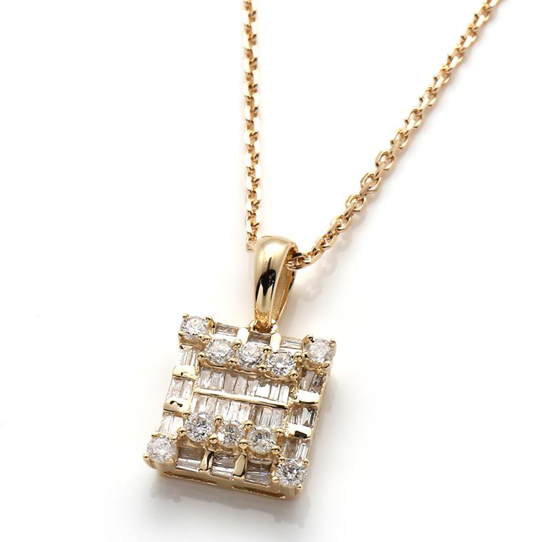 ダイヤモンド 10K イエローゴールドペンダントヘッド&ネックレス 0.647ct(45cm)MCP7335-10Y/アズキ0.4