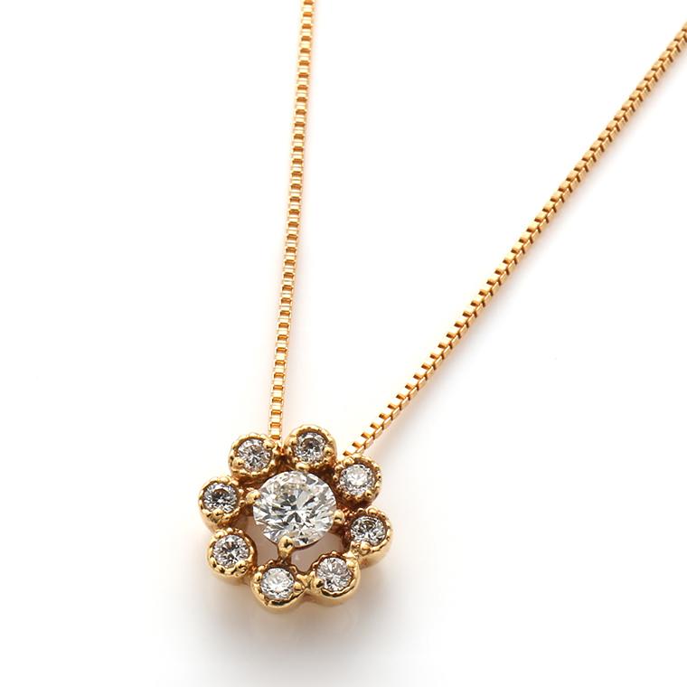 ダイヤモンド 18Kイエローゴールドペンダントヘッド&ネックレス(44cm)TDA0940-31
