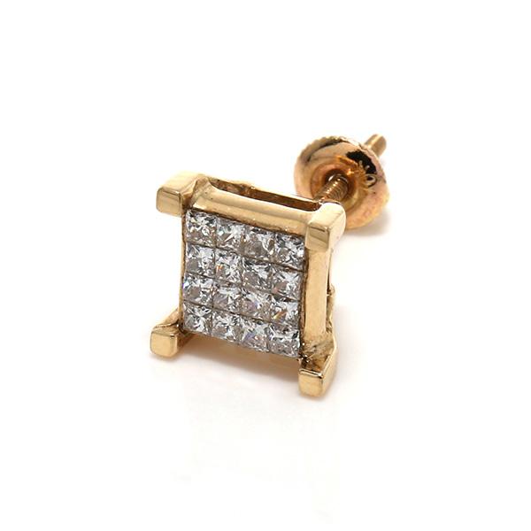 ダイヤモンド10KイエローゴールドピアスE0285 SJ19