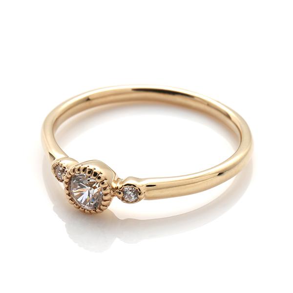 【エンゲージリング(婚約指輪)】18Kイエロー・ローズゴールドダイヤモンドリング(0.17ct) ISIEG-010 ※4週間前後でお届け