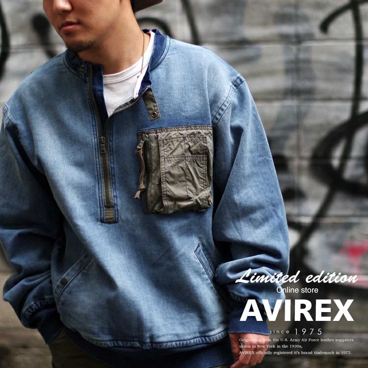 AVIREX/オフィシャルサイトミリタリー アメカジ カジュアル ファッション ブランド スウェットプルオーバー ma1 トレーナー 長袖 インディゴ 大きいサイズ ストレッチ 着やすい  AVIREX 公式通販・オンライン限定・TYPE BLUE   ジョグデニム プルオーバー/JOG DENIM PULLOVER(アビレックス アヴィレックス)メンズ 男性