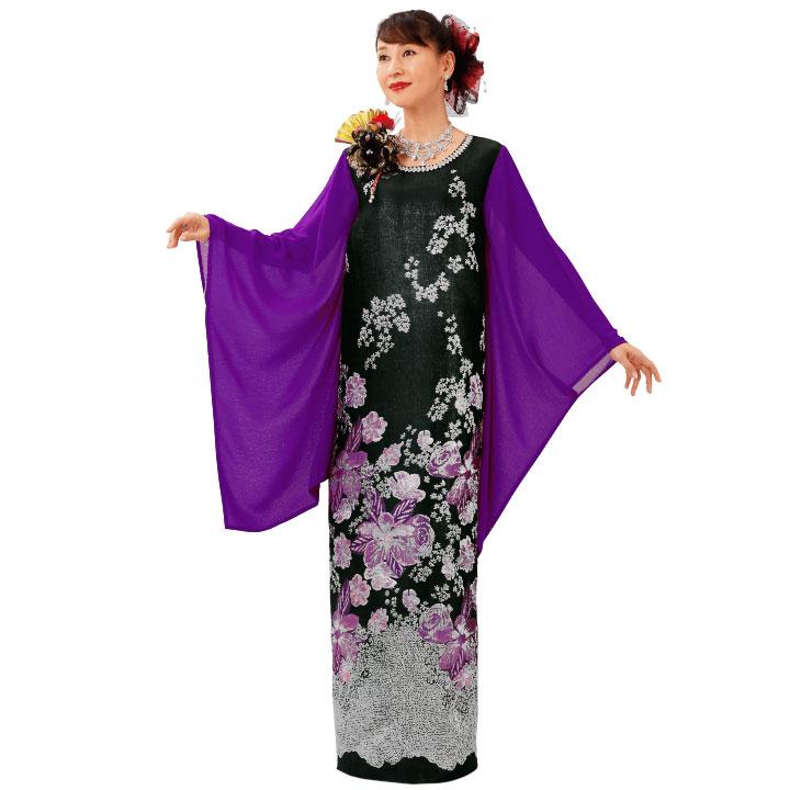 【ロングドレス】華ジャカードドレス OP447-3614▼花柄ドレス カラオケ ステージ衣装
