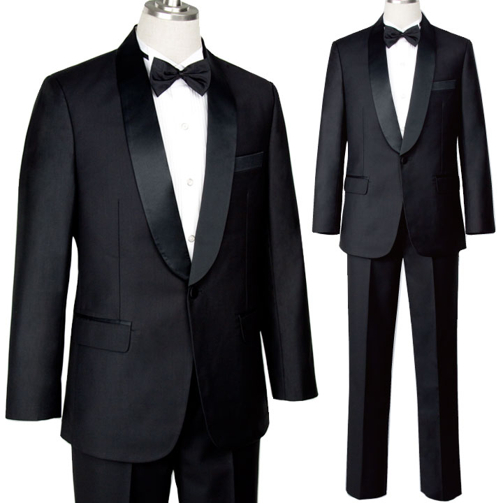 【フォーマル】サテン衿タキシードスーツ JP-MST001-3384 ▼黒 ショールカラー ステージ衣装
