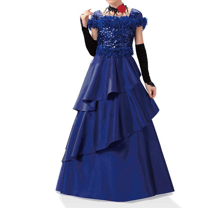 【ロングドレス】スパンコールフラワードレス KS-OP041-3490▼フォーマルドレス ステージ衣装 ドレープドレス