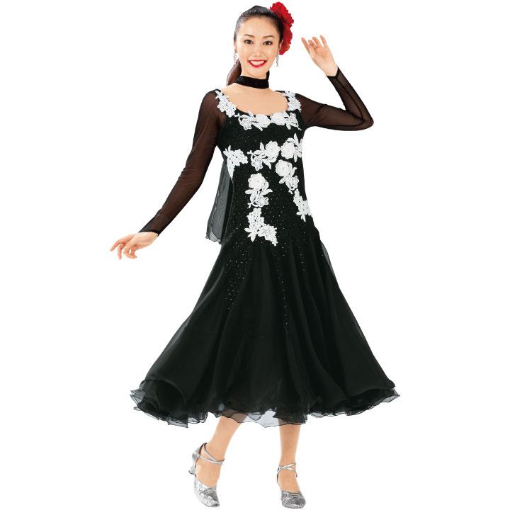 【ダンス衣装】レースモチーフドレス 黒 KN-229-3564▼ステージ衣装 社交ダンス チョーカー付き